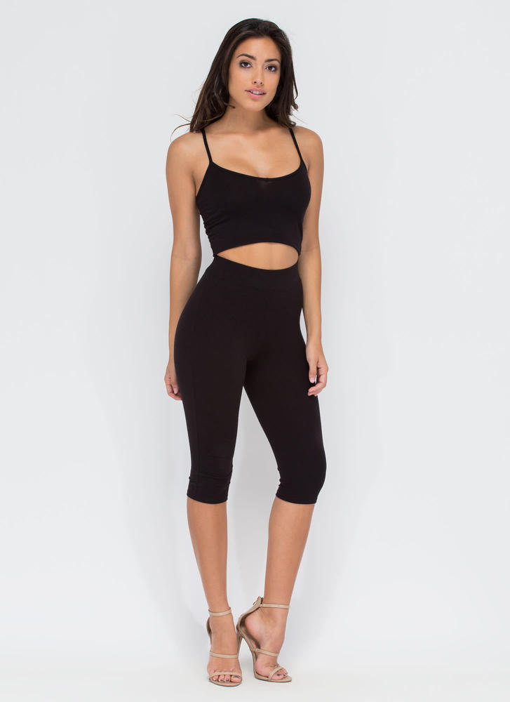 Basic Need Cropped Cami Tank BLACK