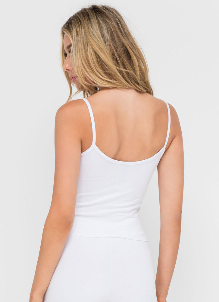 Basic Need Cropped Cami Tank WHITE