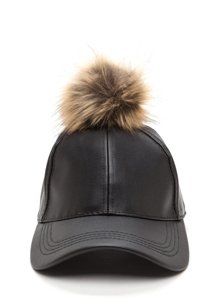 Go Fur It Faux Leather Pom-Pom Cap