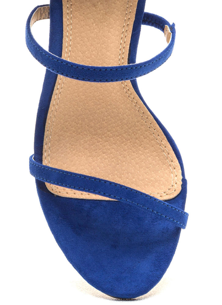 Three To One Faux Suede Strappy Heels BLUE