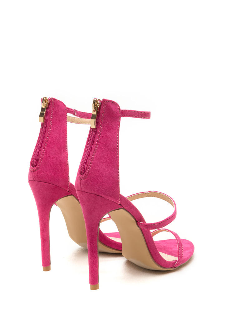Three To One Faux Suede Strappy Heels FUCHSIA