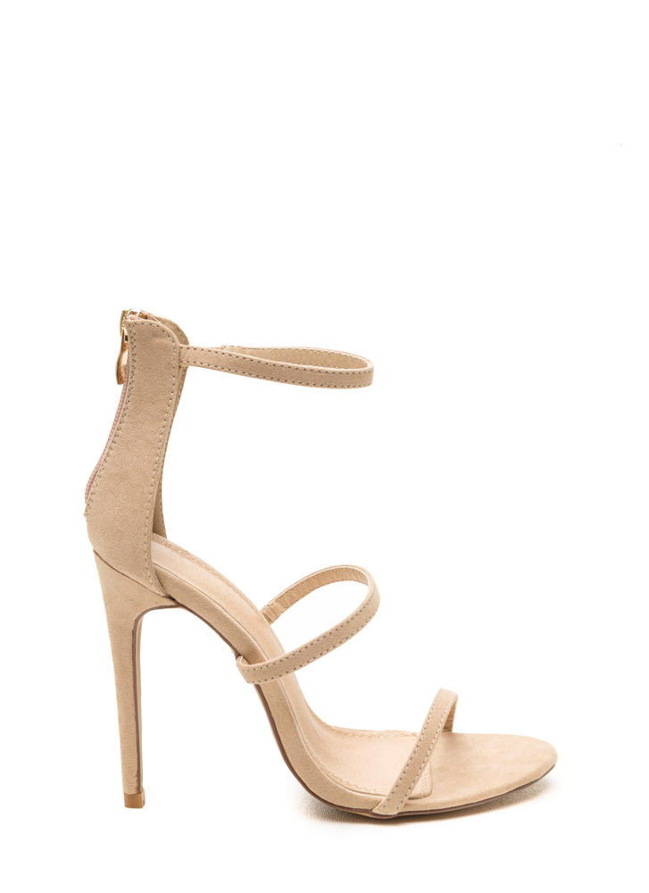 Three To One Faux Suede Strappy Heels NUDE