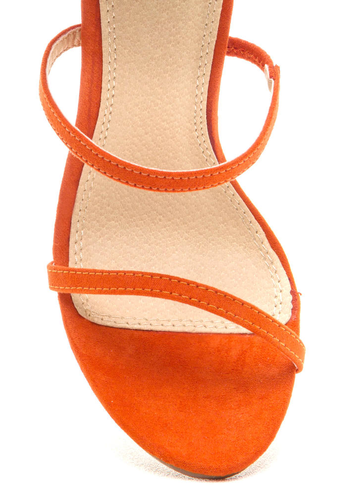Three To One Faux Suede Strappy Heels ORANGE