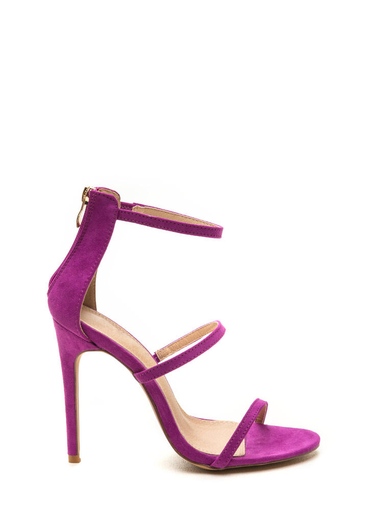 Three To One Faux Suede Strappy Heels TAN RED PURPLE FUCHSIA ...