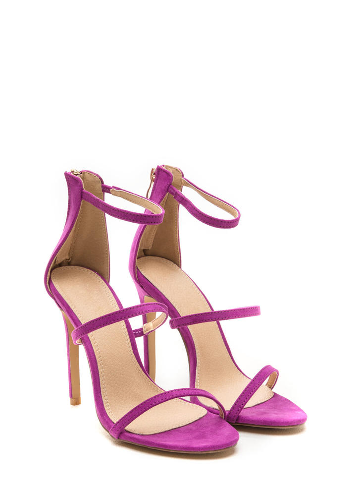 Three To One Faux Suede Strappy Heels PURPLE