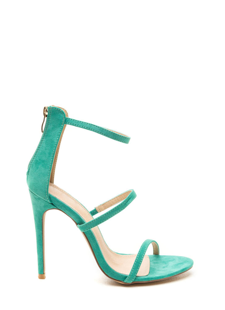 Three To One Faux Suede Strappy Heels SEAGREEN