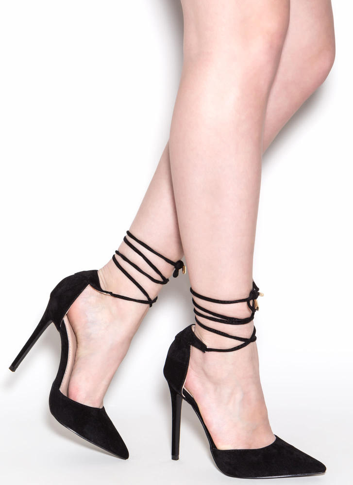 Pretty Promenade Pointy Lace-Up Heels BLACK