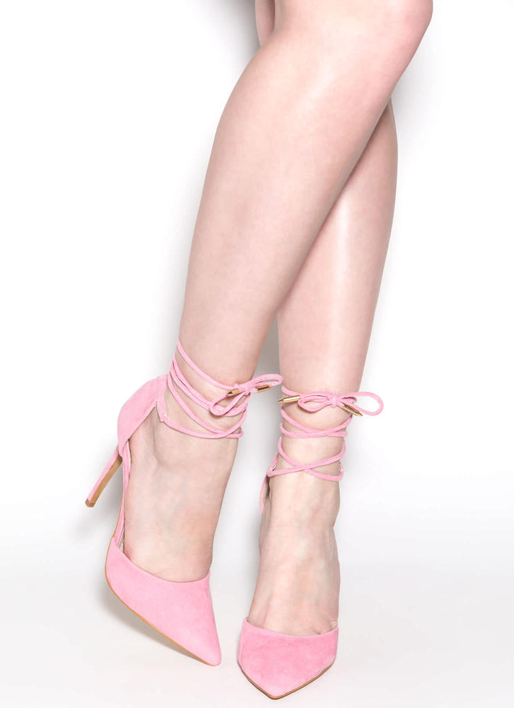 Pretty Promenade Pointy Lace-Up Heels NUDE BLACK OLIVE PINK