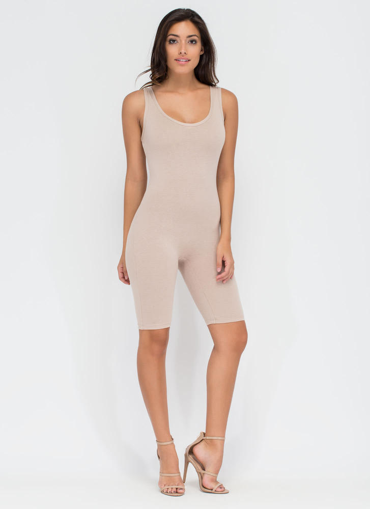 Get The Scoop Cropped Jumpsuit KHAKI