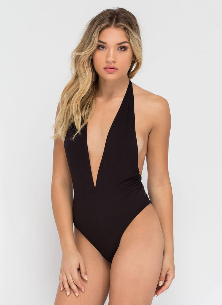 Can You Bare It Plunging Halter Bodysuit BLACK