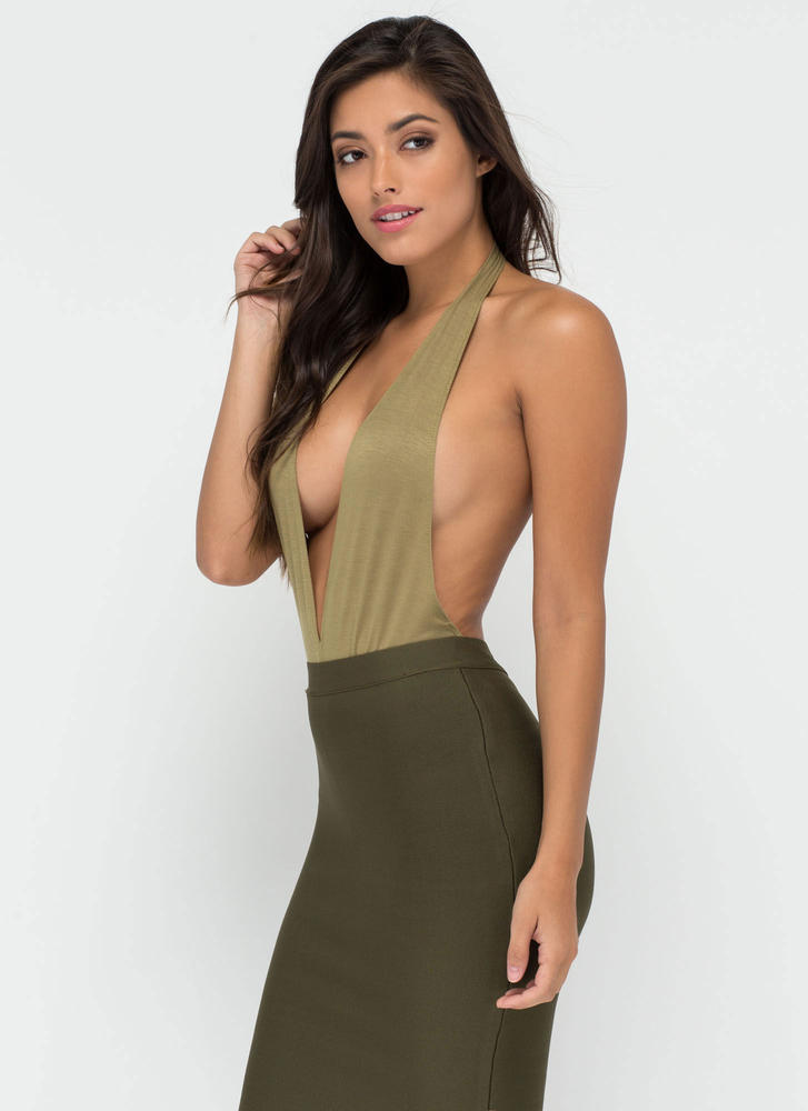 Can You Bare It Plunging Halter Bodysuit OLIVE