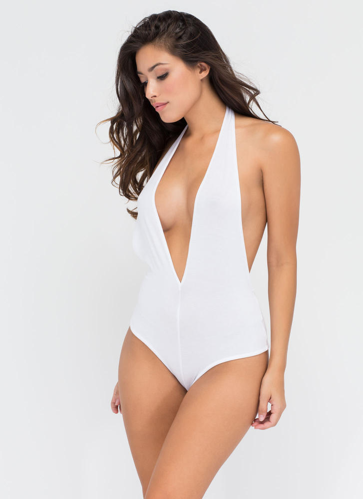 Can You Bare It Plunging Halter Bodysuit WHITE