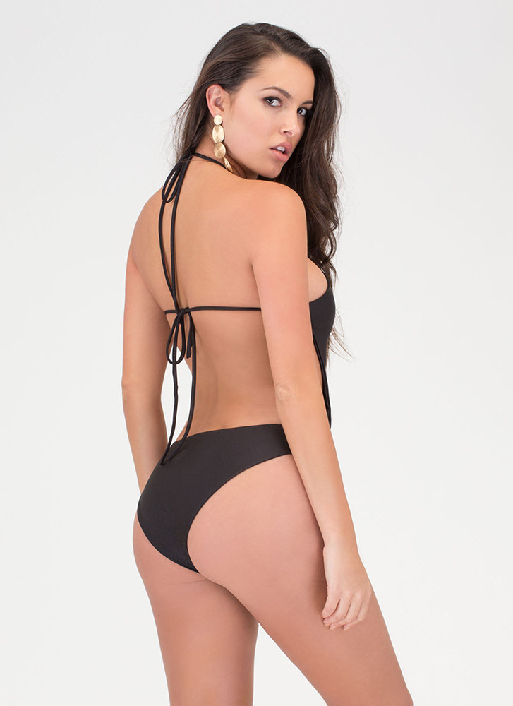 Right Places Lace-Up One-Piece Swimsuit BLACK (Final Sale)