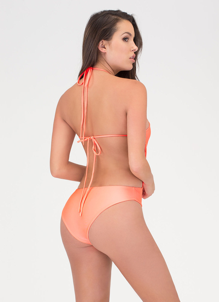Right Places Lace-Up One-Piece Swimsuit CORAL (Final Sale)