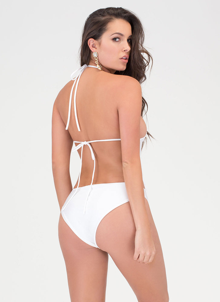 Right Places Lace-Up One-Piece Swimsuit WHITE (Final Sale)