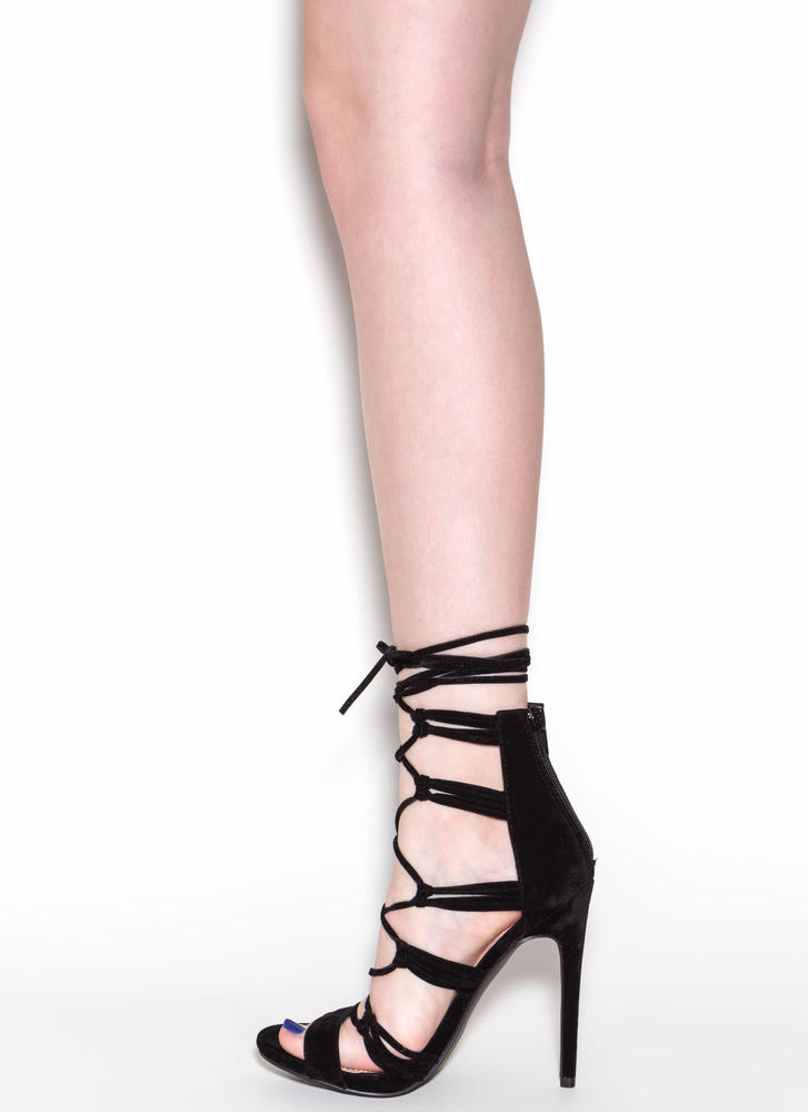 Loves Me Knot Lace-Up Heels BLACK