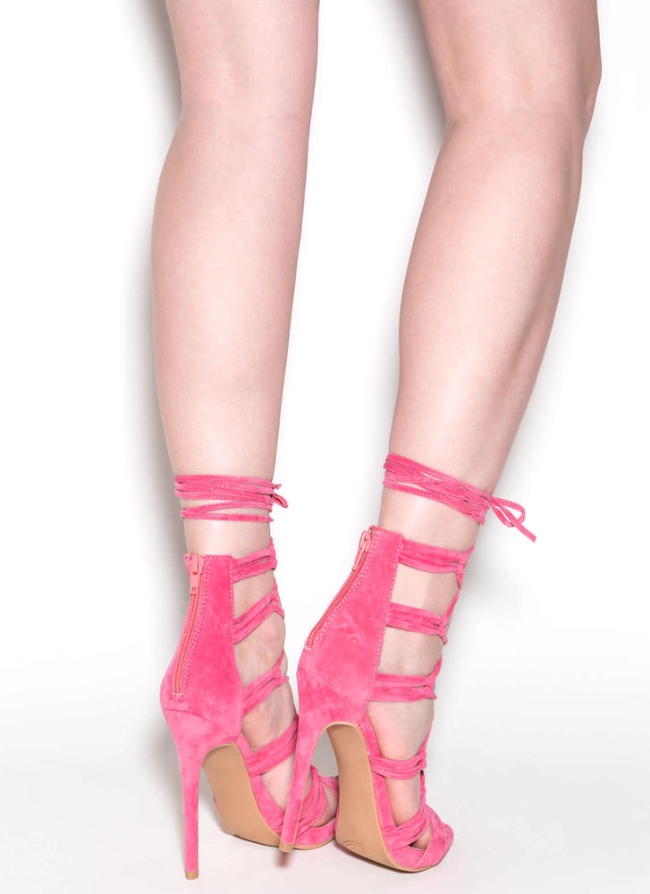 Loves Me Knot Lace-Up Heels CORAL