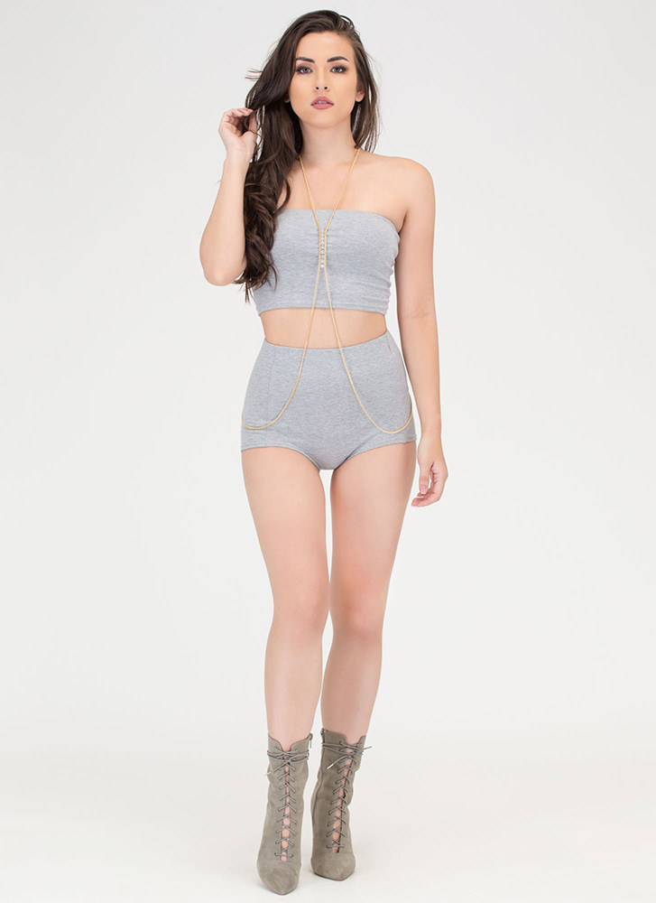 Two Become One Bandeau 'N Hotshorts Set HGREY