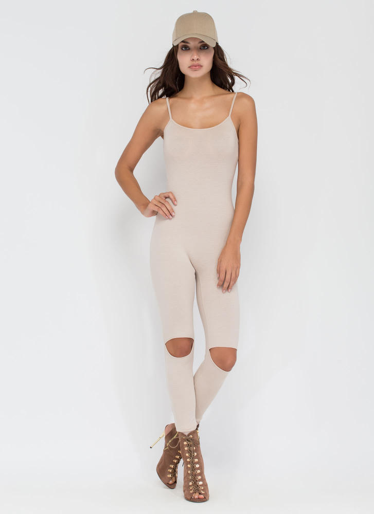 Easy Street Slit Knee Jumpsuit