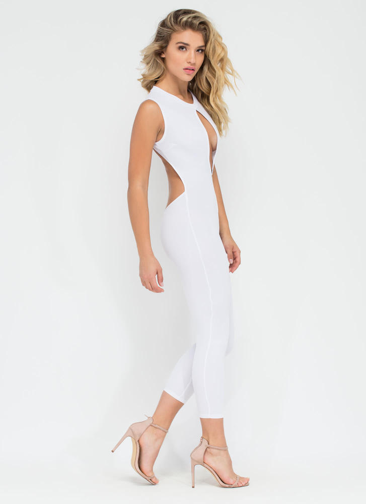 Dusk To Dawn Textured Cut-Out Jumpsuit WHITE