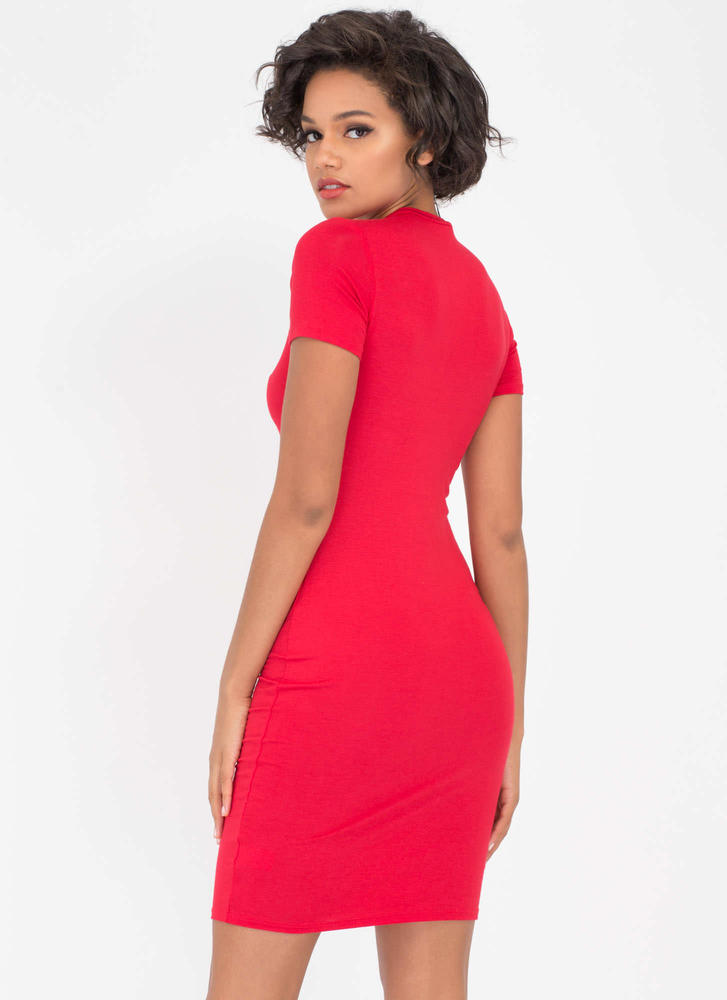 Necessary Knit Basic Dress RED