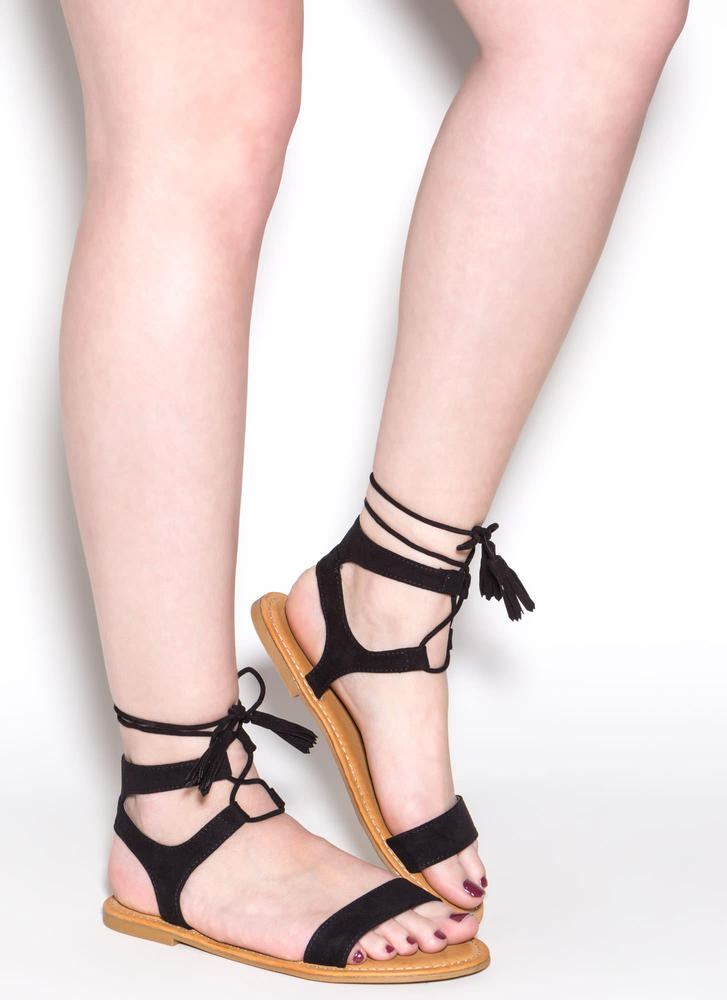 Sun And Sea Faux Suede Lace-Up Sandals BLACK