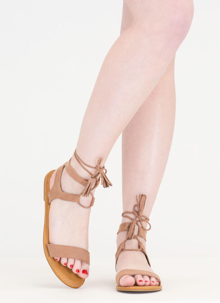 Sun And Sea Faux Suede Lace-Up Sandals CAMEL
