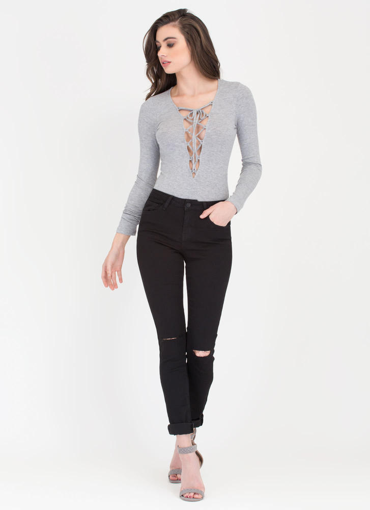 On Call Ribbed Lace-Up Thong Bodysuit HGREY