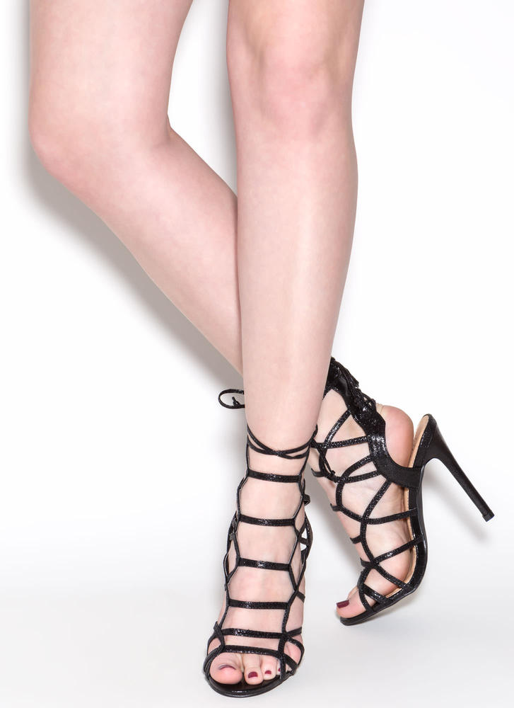 Backstage Pass Caged Faux Leather Heels BLACK (Final Sale)