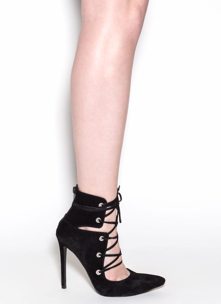 En Pointe Faux Suede Lace-Up Heels BLACK
