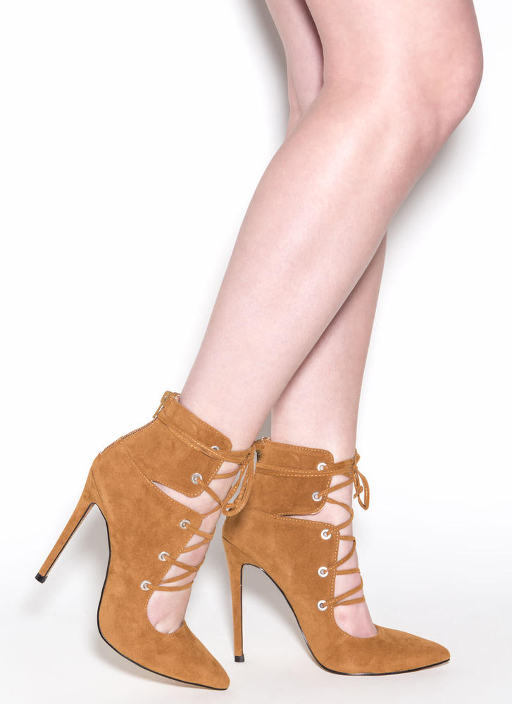 En Pointe Faux Suede Lace-Up Heels CHESTNUT