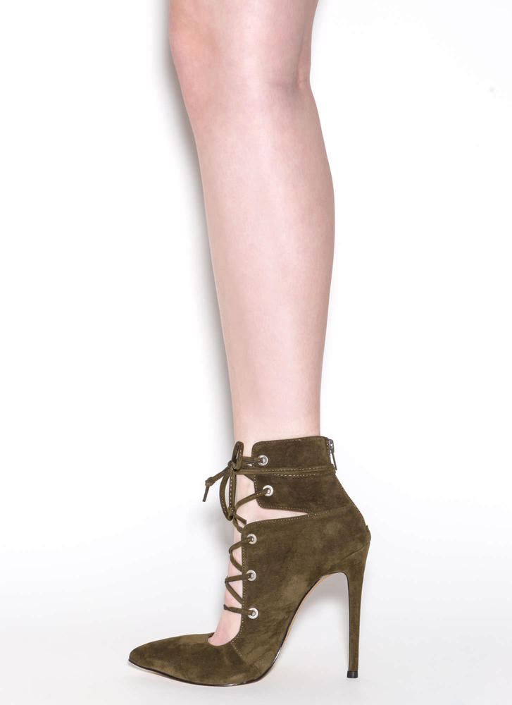 En Pointe Faux Suede Lace-Up Heels OLIVE