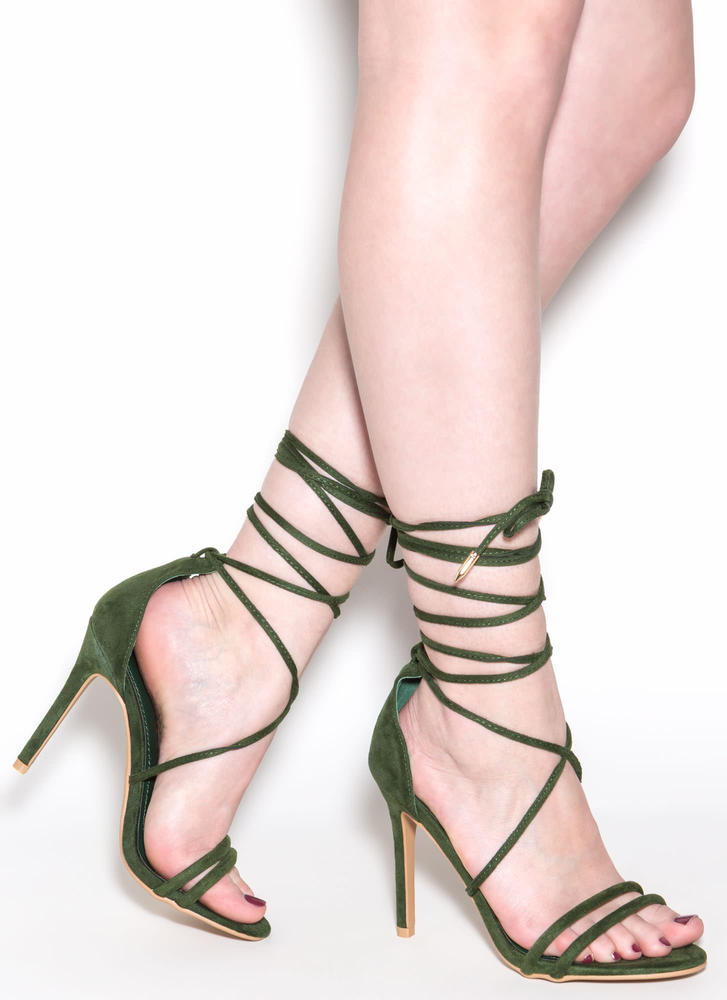 Ride Or Tie Faux Suede Lace-Up Heels HUNTERGREEN (Final Sale)