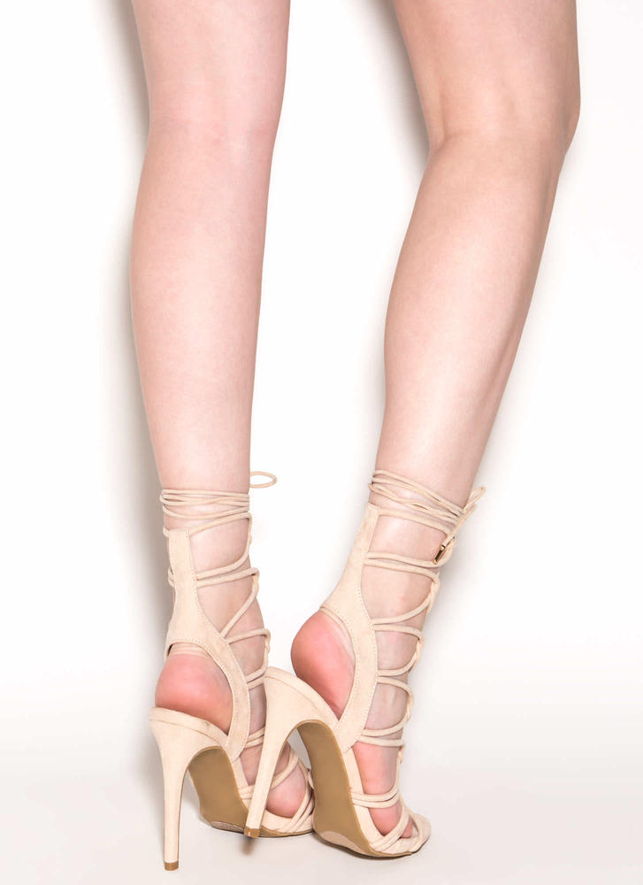 On A Loop Strappy Faux Suede Heels NUDE