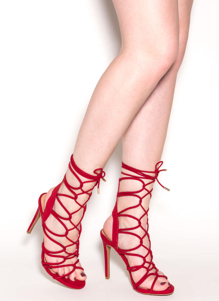 On A Loop Strappy Faux Suede Heels RED