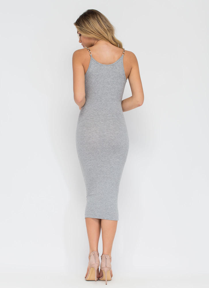 Chain Of My Existence Ribbed Midi Dress HGREY (Final Sale)