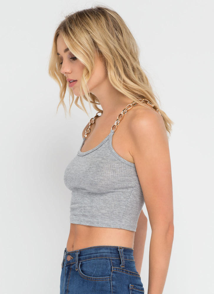 Chain Of My Existence Ribbed Crop Top HGREY (Final Sale)