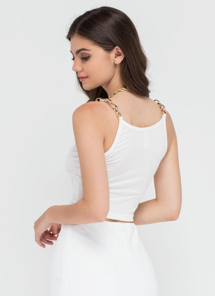 Chain Of My Existence Ribbed Crop Top WHITE (Final Sale)
