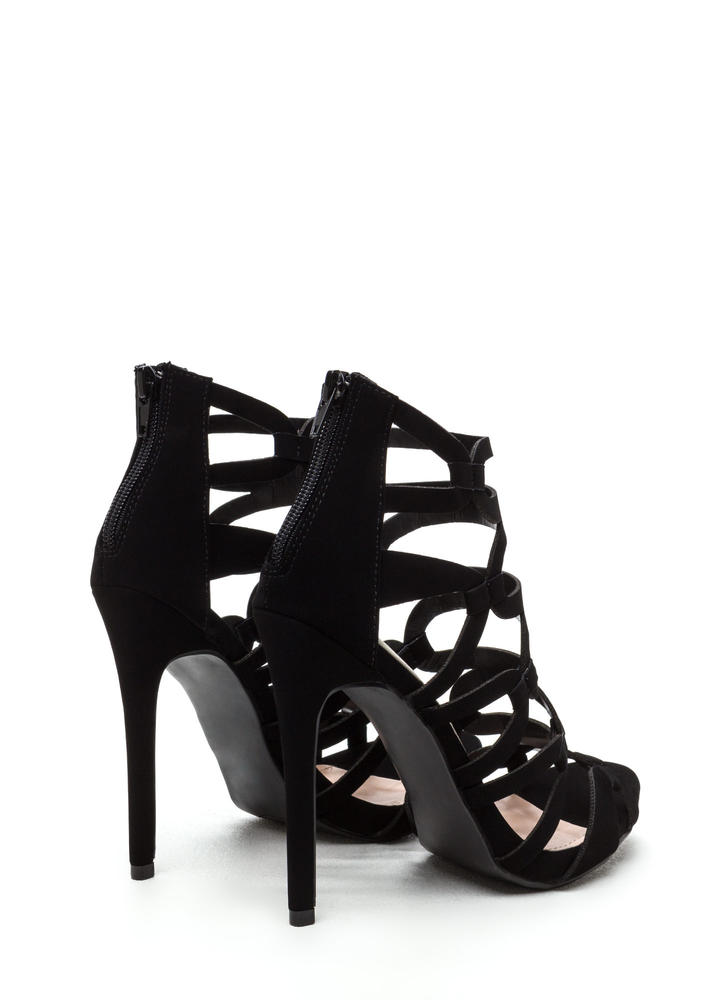 Confidence Boost Faux Nubuck Caged Heels BLACK