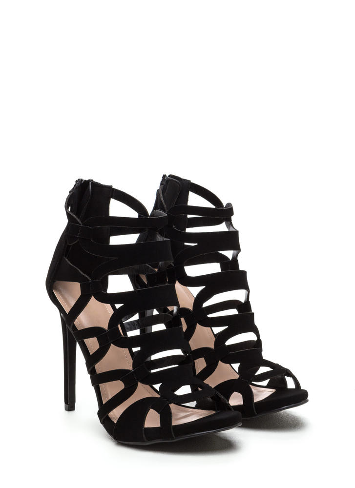 Confidence Boost Faux Nubuck Caged Heels BLACK (Final Sale)
