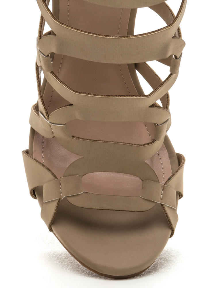 Confidence Boost Faux Nubuck Caged Heels NUDE (Final Sale)