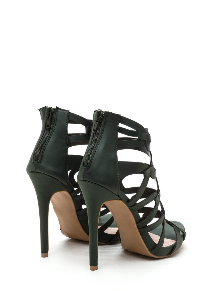 Confidence Boost Faux Nubuck Caged Heels OLIVE