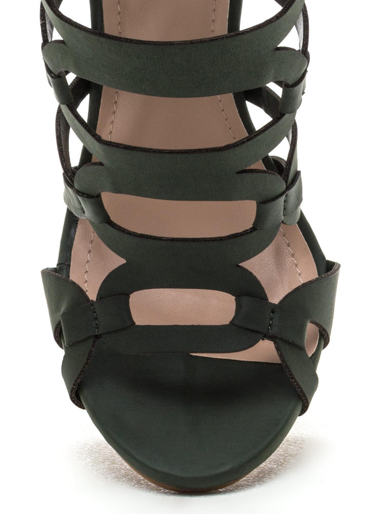 Confidence Boost Faux Nubuck Caged Heels OLIVE (Final Sale)