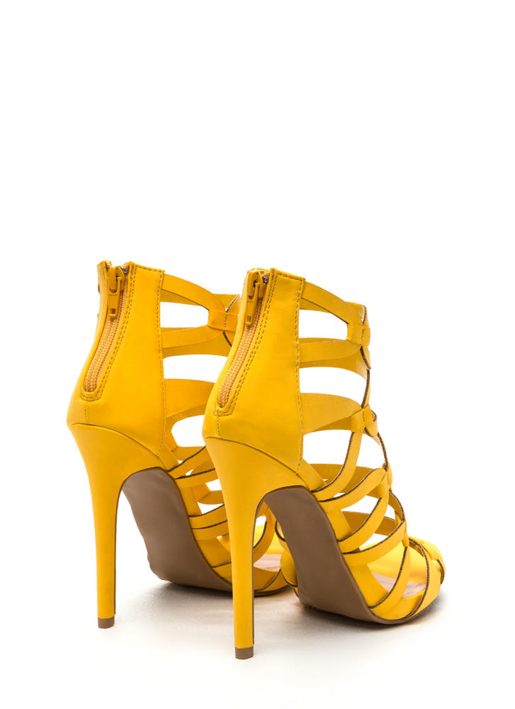 Confidence Boost Faux Nubuck Caged Heels YELLOW (Final Sale)