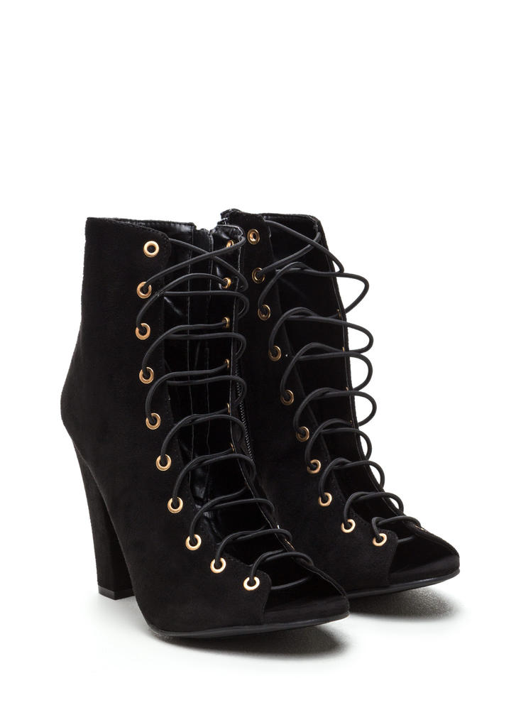 Step Out Faux Suede Lace-Up Chunky Heels BLACK