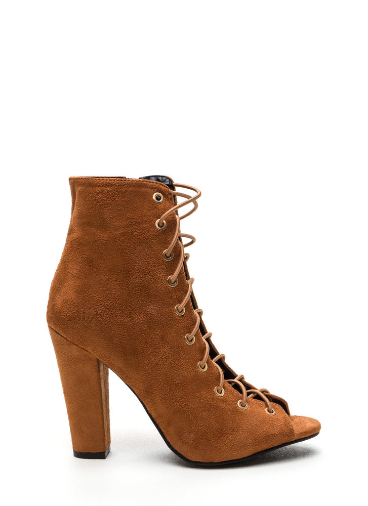 Step Out Faux Suede Lace-Up Chunky Heels