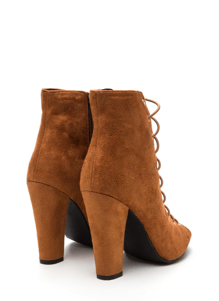 Step Out Faux Suede Lace-Up Chunky Heels CHESTNUT