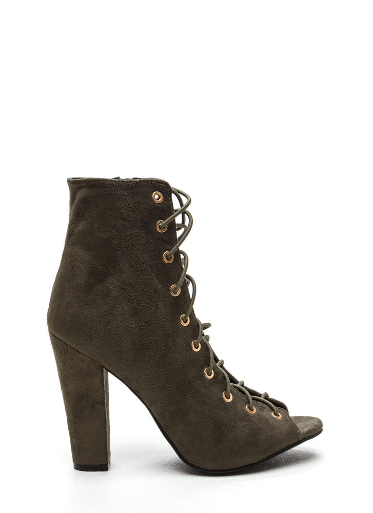 Step Out Faux Suede Lace-Up Chunky Heels OLIVE (Final Sale)