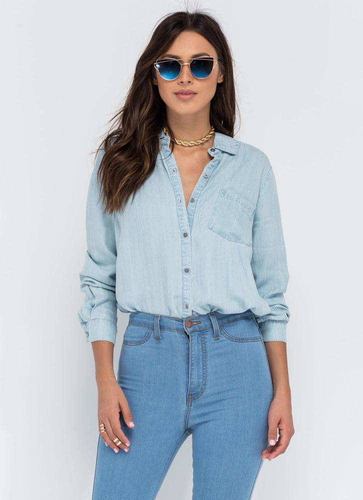 Casual Aesthetic Chambray Shirt