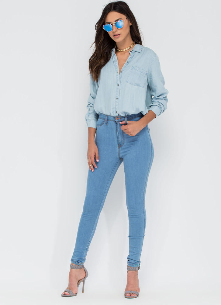 Casual Aesthetic Chambray Shirt LTBLUE